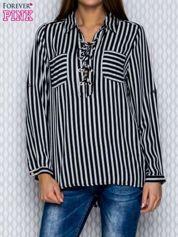 Koszula w paski czarna lace up
