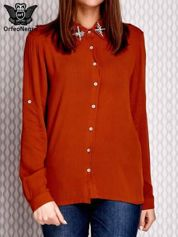 Koszula z błyszczącą aplikacją przy dekolcie jasnopomarańczowa