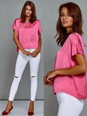 Krótki t-shirt oversize różowy