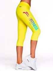Krótkie legginsy do fitnessu z kolorowym nadrukiem żółte