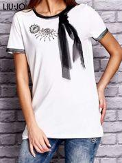 LIU JO Biały t-shirt z aplikacją i tiulową kokardą