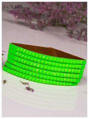 LOLITA Zielona bransoletka skórzana WRAP kryształki cyrkonie BLOGERS HIT
