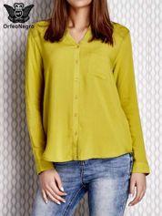 Limonkowa koszula z haftowanym wzorem
