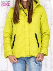 Limonkowa przejściowa kurtka puchowa z dłuższym tyłem