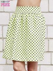 Limonkowa spódnica w grochy z plisami