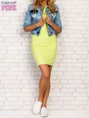 Butik Limonkowa sukienka z kieszeniami na suwak