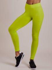 Limonkowe długie cienkie legginsy do biegania