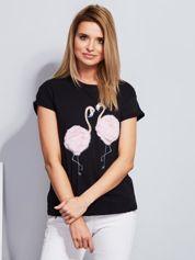 Luźny t-shirt z futrzanymi flamingami czarny