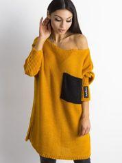 MAGPIE Ciemnożółty luźny sweter z kieszenią
