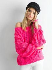 MAGPIE Różowy sweter w warkocze