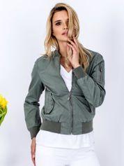 Materiałowa krótka kurtka khaki