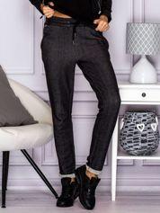 Melanżowe bawełniane spodnie z kieszeniami na suwak czarne
