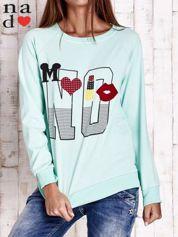 Miętowa bluza z napisem NO