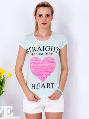 Miętowy t-shirt z sercem