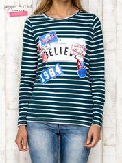 Morska bluzka w paski z nadrukiem