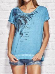Morski dekatyzowany t-shirt z nadrukiem