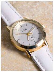 N&K Klasyczny damski zegarek z ozdobną wytłaczaną tarczą