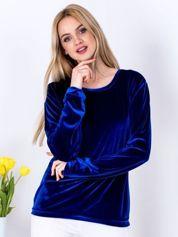 Niebieska aksamitna bluza ze ściągaczami