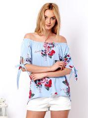 Niebieska bluzka hiszpanka w kwiatowe wzory
