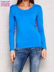 Niebieska bluzka ze sznurowaniem na ramionach