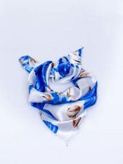 Niebieska jedwabna chusta apaszka w kwiaty