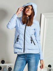 Niebieska kurtka zimowa z kapturem