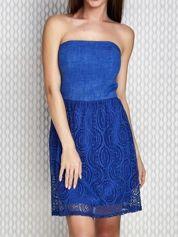 Niebieska sukienka koktajlowa z ażurowym dołem