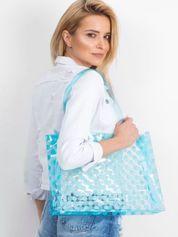 Niebieska transparentna torba w grochy