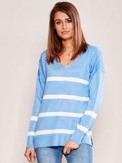 Niebieski sweter damski w pasy