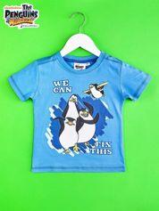 Niebieski t-shirt chłopięcy PINGWINY Z MADAGASKARU