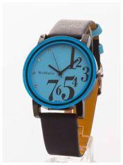 Niebieski zegarek damski z cyrkoniami na pasku