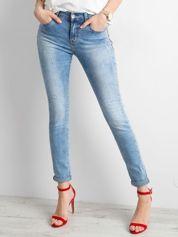 Niebieskie damskie jeansy slim fit