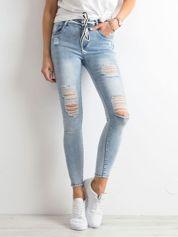 Niebieskie jeansy super skinny