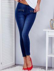 Niebieskie jegginsy high waist