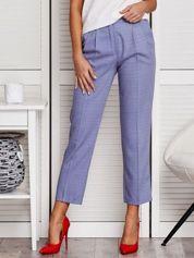 Niebieskie spodnie 7/8 w drobny deseń