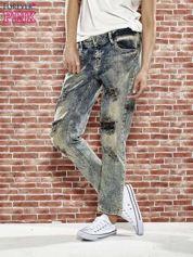 Niebieskie spodnie boyfriend jeans z szarpaniem