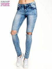 Niebieskie spodnie skinny jeans ripped knee