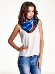 Niebiesko-brązowa chusta apaszka z nadrukiem literowym