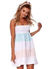 Niebiesko-różowa sukienka w szerokie pasy