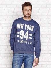 Ocieplana bluza męska z nadrukiem NEW YORK 94 ciemnoniebieska