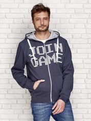 Ocieplana bluza męska z napisem JOIN GAME i kapturem grafitowa