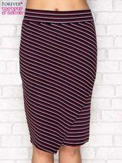 Ołówkowa spódnica w paski czarno-fioletowa