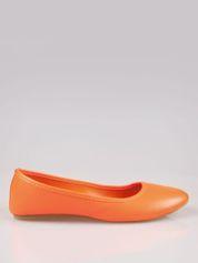 Pomarańczowe gładkie balerinki eco leather ze skóry ekologicznej