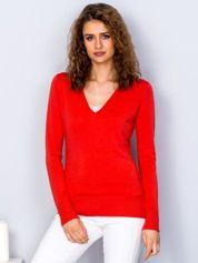 Pomarańczowy sweter V-neck