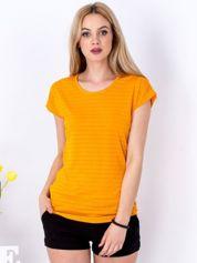 Pomarańczowy t-shirt z ażurowaniem