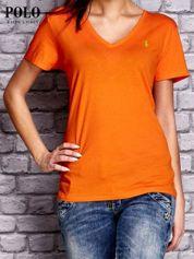 RALPH LAUREN Pomarańczowy t-shirt z trójkątnym dekoltem