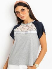 RUE PARIS Szaro-granatowy t-shirt Euphoria