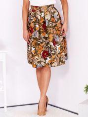Rozkloszowana spódnica w kwiatowy wzór khaki