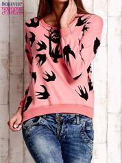 Różowa bluza w jaskółki z wiązaniem
