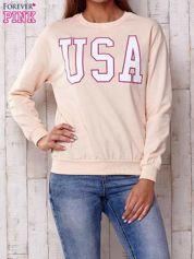 Butik Różowa bluza z napisem USA